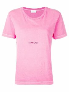 Saint Laurent logo print T-shirt - PINK