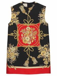 Gucci Tunic top with flowers and tassels - Black