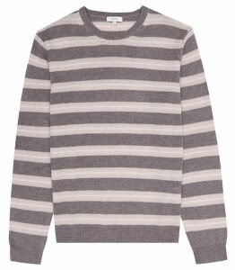 Reiss Cowdry - Striped Crew Neck Jumper in Taupe, Mens, Size XXL