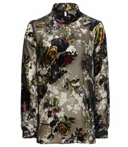 Reiss Tori - Floral Burnout Blouse in Multi, Womens, Size 14