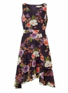 Womens **Billie & Blossom Navy Floral Print Midi Wrap Dress- Navy, Navy