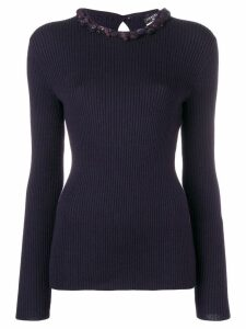 Chanel Pre-Owned embellished ribbed jumper - PURPLE