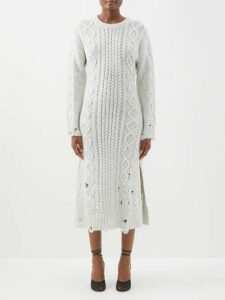 Altuzarra - Lucia Striped Silk Midi Dress - Womens - Blue White