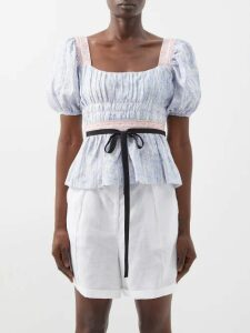 Hillier Bartley - Gathered-sleeve Silk Blouse - Womens - Ivory