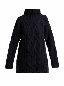Connolly - Cable Knitted Wool And Cashmere Sweater - Womens - Navy