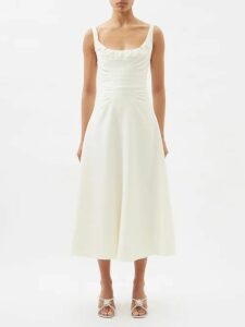 Self-portrait - One-shoulder Star-embellished Crepe Top - Womens - Navy