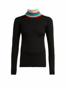 Proenza Schouler Pswl - Striped Roll Neck Cotton Sweater - Womens - Black Multi