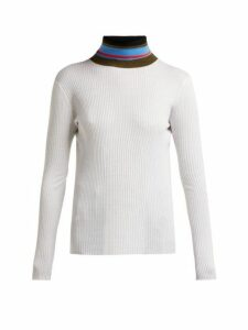 Proenza Schouler Pswl - Striped Roll Neck Cotton Sweater - Womens - Ivory Multi