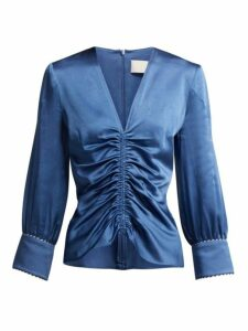 Peter Pilotto - Ruched Satin Blouse - Womens - Blue