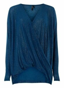 Womens **Vero Moda Blue Twist Front Top, Blue