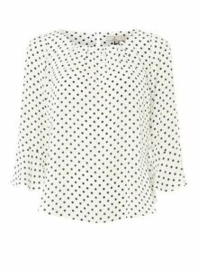 Womens **Billie & Blossom Petite Ivory 3/4 Sleeve Blouse- White, White