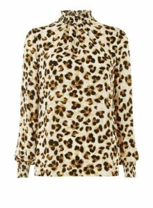 Womens **Tall Multi Coloured Glitter Leopard Print Blouse, Multi Colour