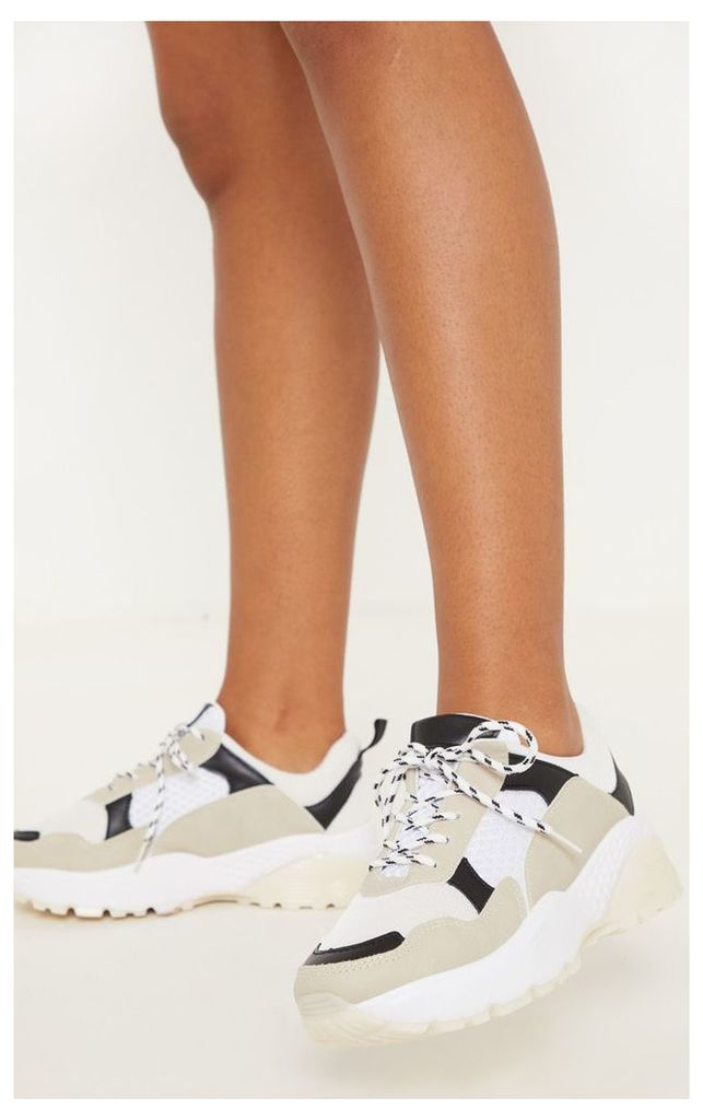 White Hiker Lace Chunky Trainer, White