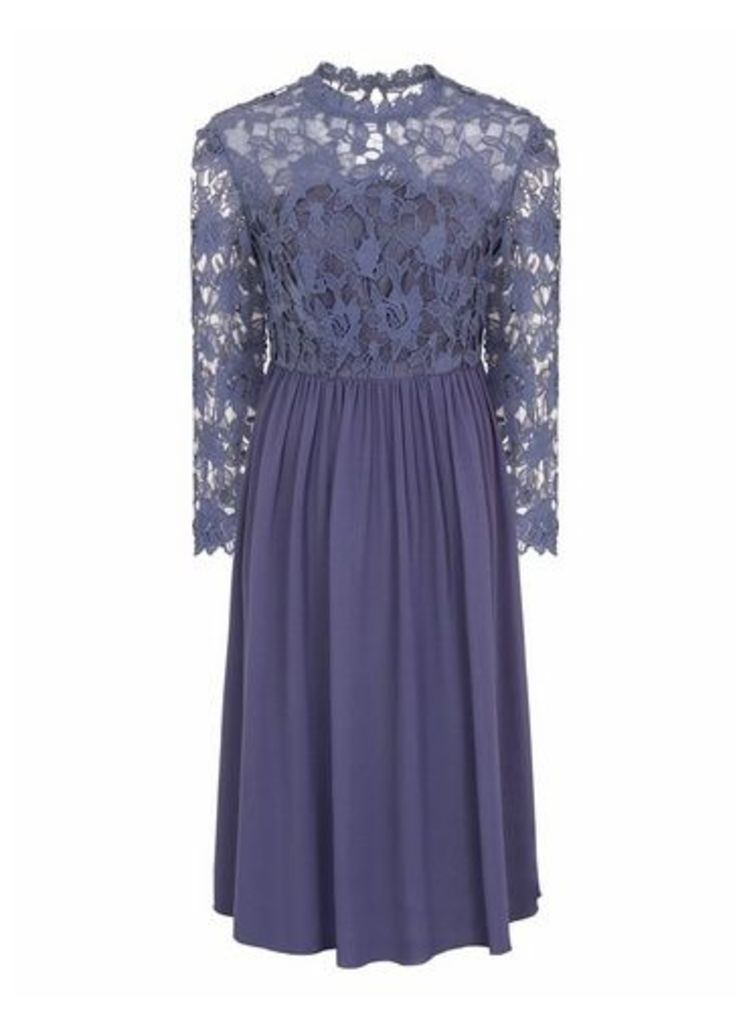 Womens *Chi Chi London Blue Crochet Midi Skater Dress- Blue, Blue