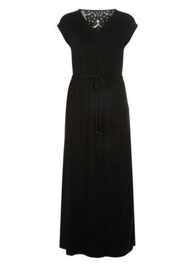 Womens Black Crochet Back Jersey Maxi Dress- Black, Black