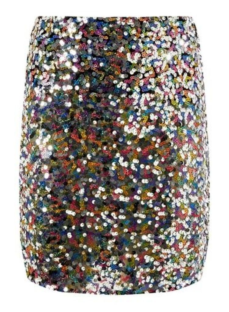 Womens Silver 'Barbie' Sequin Embellished Mini Skirt- Silver, Silver