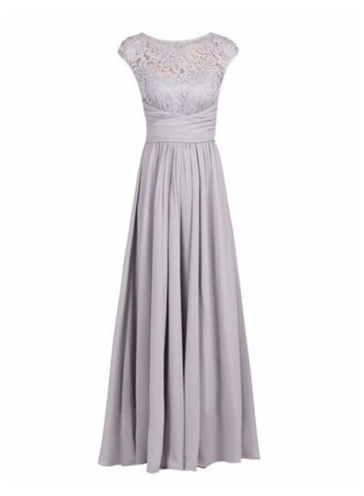 Womens *Jolie Moi Silver Grey Lace Maxi Dress- Silver Grey, Silver Grey