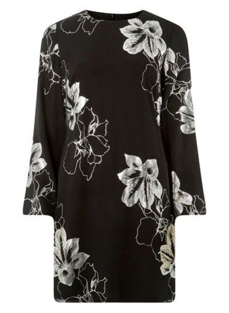 Womens Black and Silver Shift Dress- Black, Black