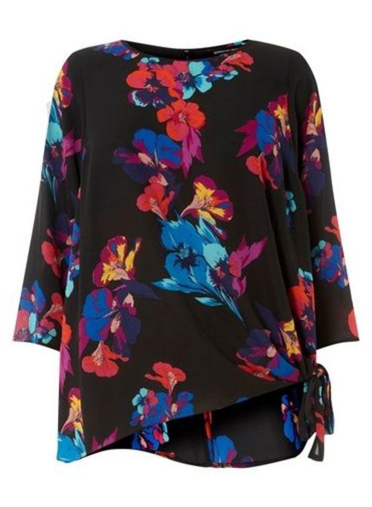 Womens **DP Curve Black Floral Print Tie Side Blouse- Black, Black