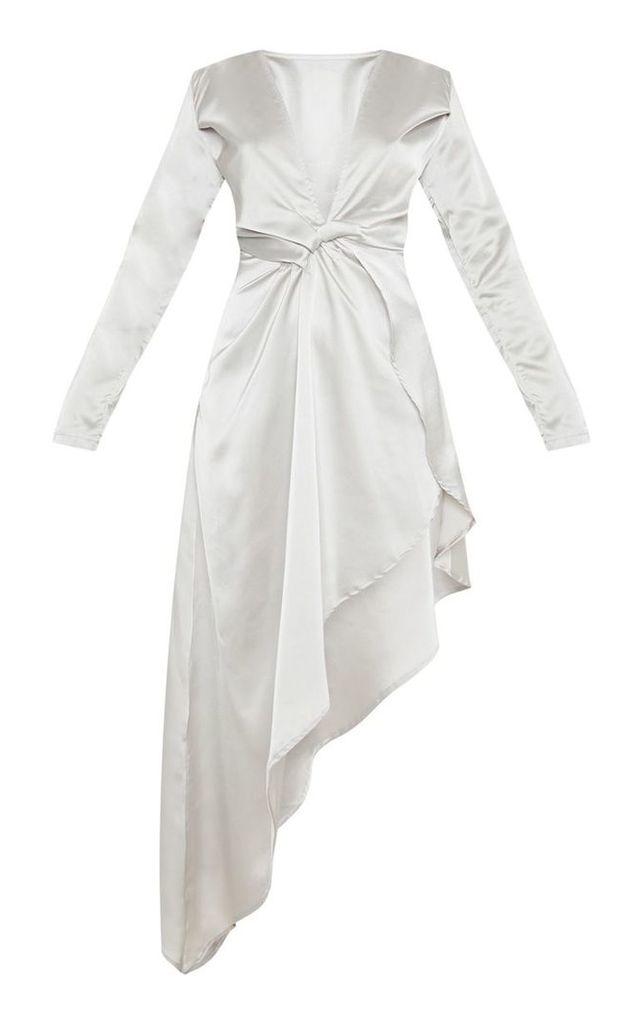 Silver Asymmetric Hem Long Sleeve Plunge Satin Maxi Dress, Grey