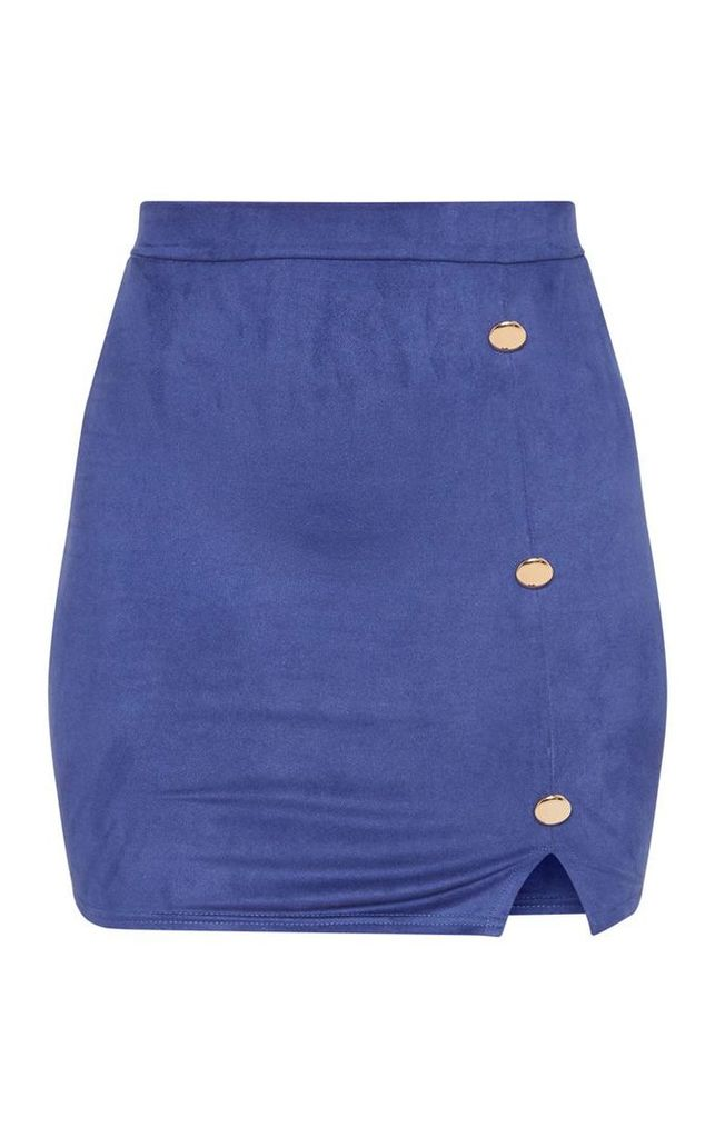 Navy Faux Suede Button Detail Mini Skirt, Blue