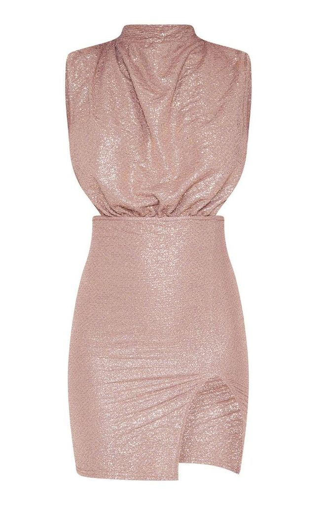 Pink Textured Metallic High Neck Side Boob Dress, Pink