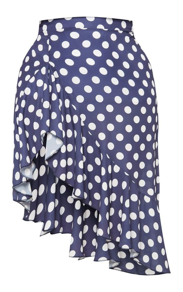 Plus Navy Waterfall Split Polka Dot Midi Skirt, Blue