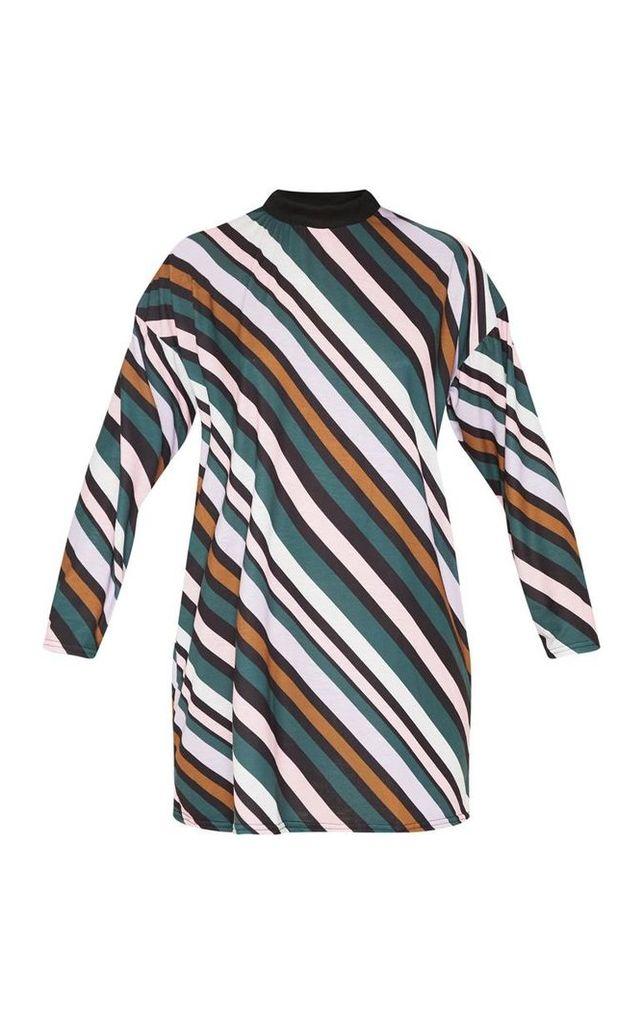 Multi Stripe Print Long Sleeve T Shirt Dress, Multi