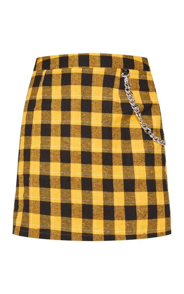 Yellow Check Chain Detail Mini Skirt, Yellow
