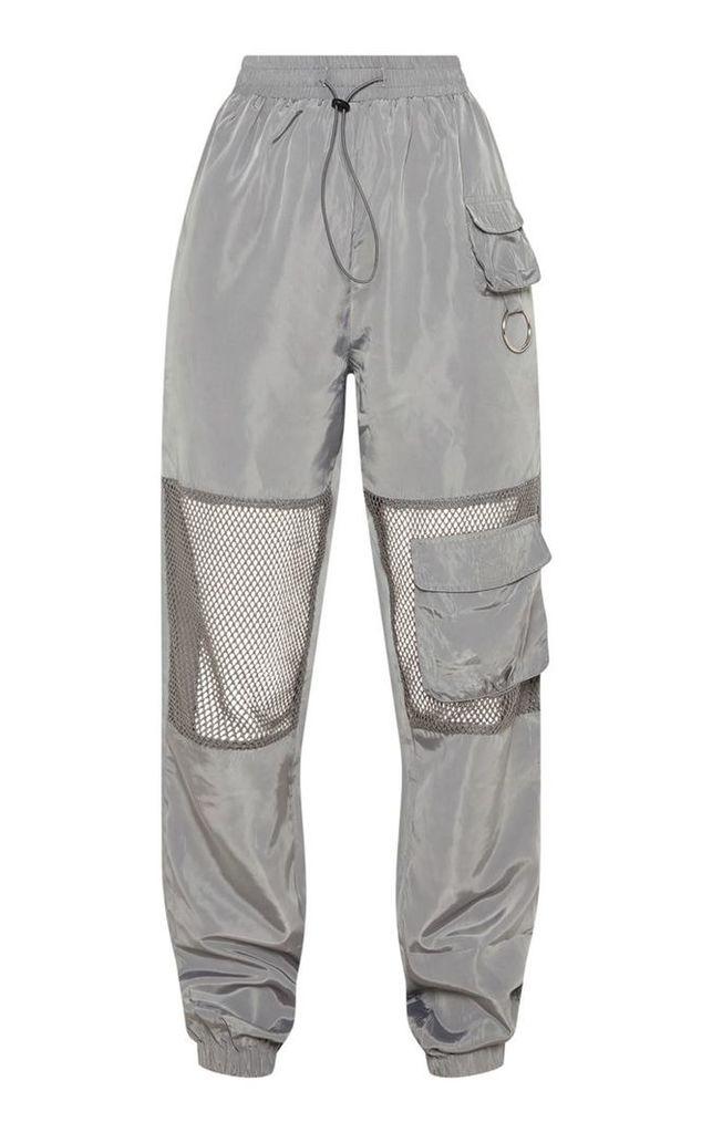 Grey Shell Pocket Fishnet Panel Cuff Jogger, Grey