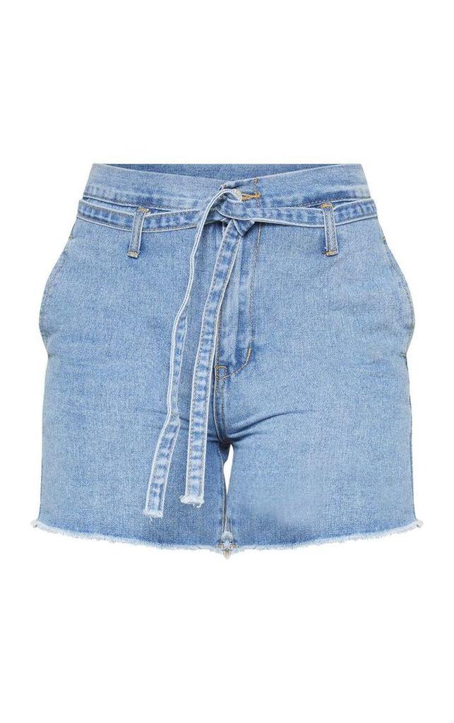 Light Blue Wash Paperbag Shorts, Light Blue Wash