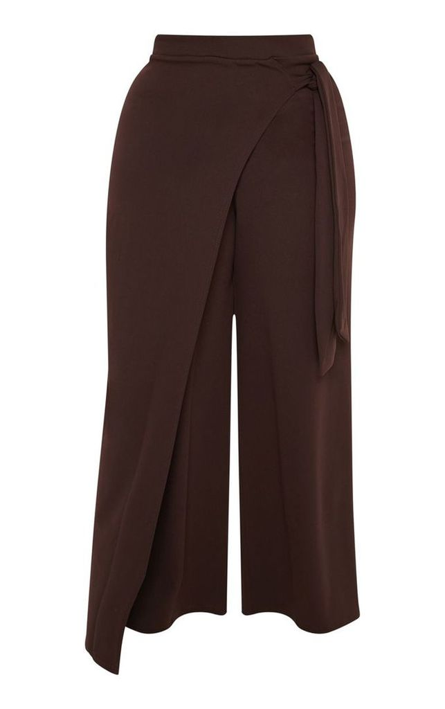 Plus Chocolate Brown Wrap Detail Extreme Wide Leg Trousers, Chocolate Brown