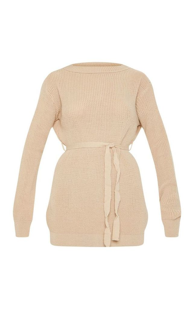 Camel Tie Waist Knitted Top, Camel