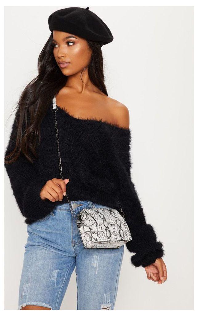 Black Eyelash Knitted Jumper, Black
