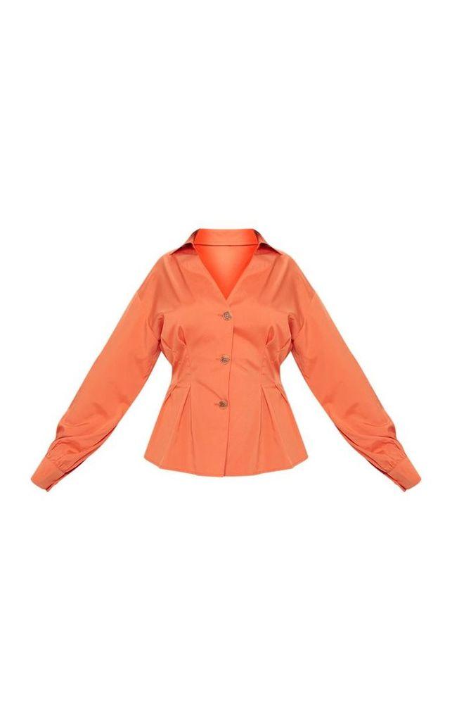 Plus Rust Button Detail Peplum Shirt, Orange