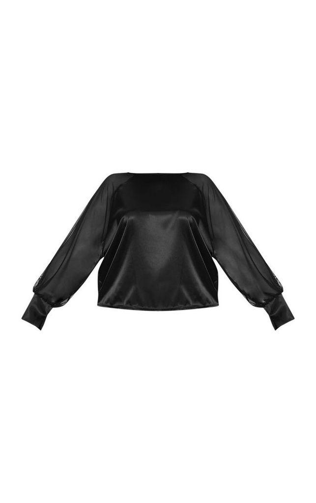 Plus Black Mesh Sleeve Satin Top, Black