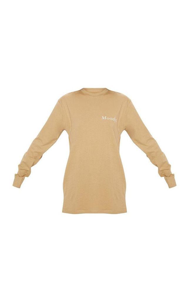 Washed Sand Moody Slogan Printed Long Sleeve T shirt, Sand