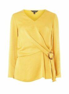 Womens Yellow Wrap Long Sleeve Top- Orange, Orange