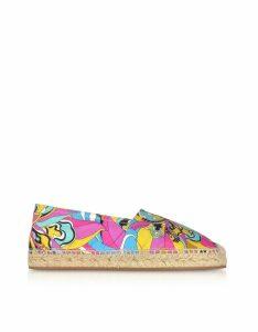 Emilio Pucci Designer Shoes, Multicolor Printed Canvas Espadrilles