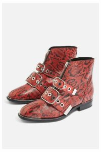 Womens **Wide Fit Alex Leather Low Ankle Boots - Red, Red