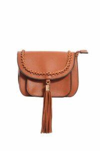 Quiz Tan Tassel Strap Bag