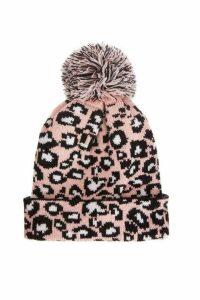 Quiz Pink Leopard Knit Pom Hat
