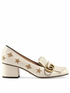 Gucci Embroidered leather mid-heel pump - White