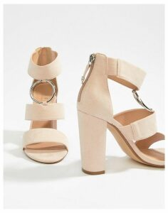 Office Habibi black suede three strap chunky block heeled sandals-Pink