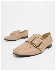 Park Lane Leather Flat Shoes-Beige