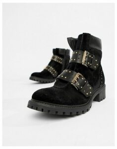 Sofie Schnoor velvet stud and buckle chunky boot-Black