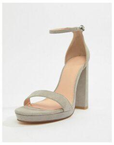 Coco Wren Platform Heeled Sandals-Grey