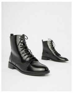 London Rebel Clean Hiker Boots-Black