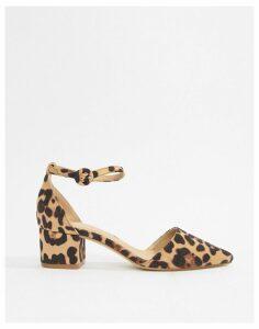 Raid Lucky leopard print cross strap black mid heeled shoes