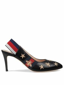 Gucci embroidered leather Web slingback pump - Black